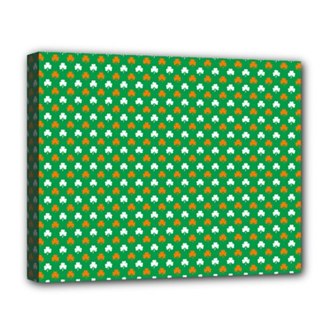 Orange & White Heart-Shaped Clover on Green St. Patrick s Day Deluxe Canvas 20  x 16