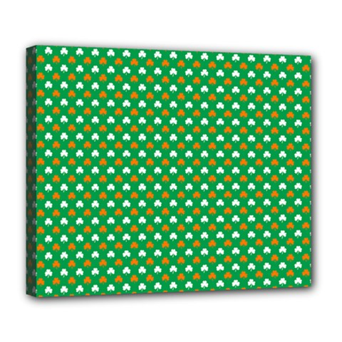 Orange & White Heart-Shaped Clover on Green St. Patrick s Day Deluxe Canvas 24  x 20