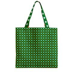 Orange & White Heart-Shaped Clover on Green St. Patrick s Day Zipper Grocery Tote Bag