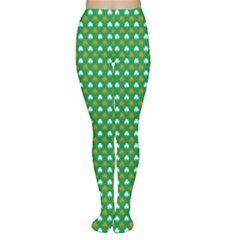 Orange & White Heart-Shaped Clover on Green St. Patrick s Day Women s Tights