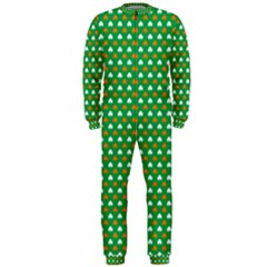 Orange & White Heart-Shaped Clover on Green St. Patrick s Day OnePiece Jumpsuit (Men)