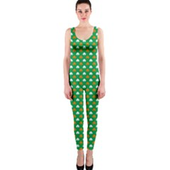Orange & White Heart-Shaped Clover on Green St. Patrick s Day OnePiece Catsuit