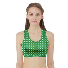 Orange & White Heart-Shaped Clover on Green St. Patrick s Day Sports Bra with Border