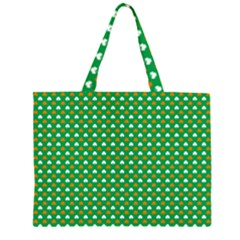 Orange & White Heart-Shaped Clover on Green St. Patrick s Day Large Tote Bag
