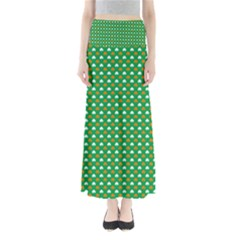 Orange & White Heart-Shaped Clover on Green St. Patrick s Day Maxi Skirts