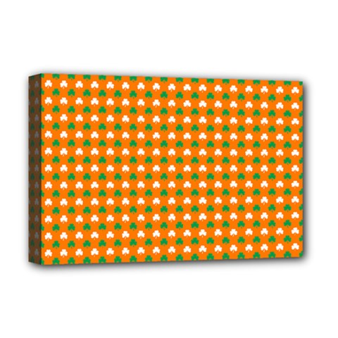 Heart-Shaped Clover Shamrock On Orange St. Patrick s Day Deluxe Canvas 18  x 12