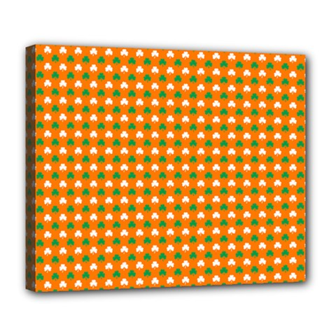 Heart Shaped Clover Shamrock On Orange St  Patrick s Day Deluxe Canvas 24  X 20