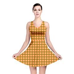 Heart-Shaped Clover Shamrock On Orange St. Patrick s Day Reversible Skater Dress