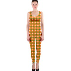Heart-Shaped Clover Shamrock On Orange St. Patrick s Day OnePiece Catsuit
