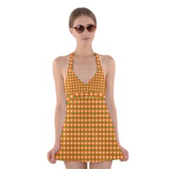 Heart-Shaped Clover Shamrock On Orange St. Patrick s Day Halter Swimsuit Dress