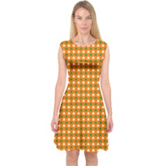 Heart-Shaped Clover Shamrock On Orange St. Patrick s Day Capsleeve Midi Dress