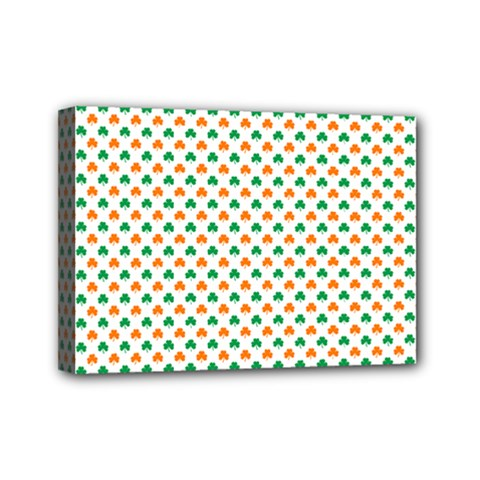 Orange And Green Heart-Shaped Shamrocks On White St. Patrick s Day Mini Canvas 7  x 5