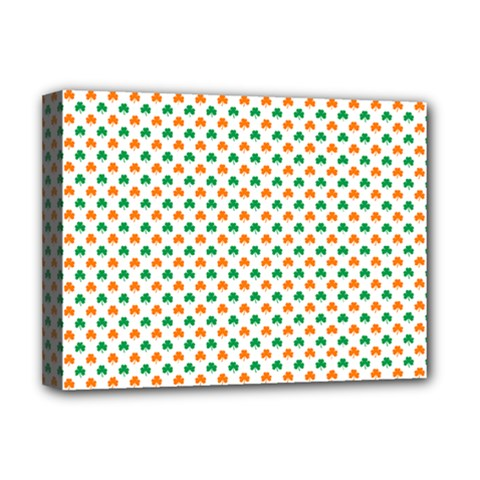 Orange And Green Heart-Shaped Shamrocks On White St. Patrick s Day Deluxe Canvas 16  x 12