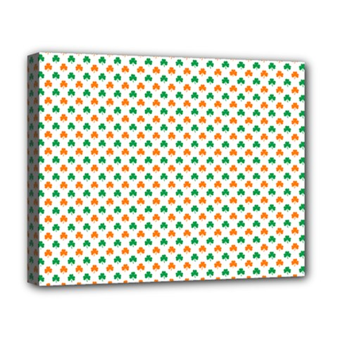 Orange And Green Heart-Shaped Shamrocks On White St. Patrick s Day Deluxe Canvas 20  x 16