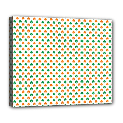 Orange And Green Heart-Shaped Shamrocks On White St. Patrick s Day Deluxe Canvas 24  x 20