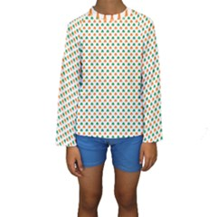 Orange And Green Heart-Shaped Shamrocks On White St. Patrick s Day Kids  Long Sleeve Swimwear