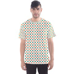 Orange And Green Heart-Shaped Shamrocks On White St. Patrick s Day Men s Sport Mesh Tee
