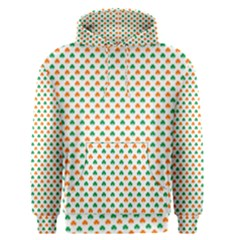 Orange And Green Heart-Shaped Shamrocks On White St. Patrick s Day Men s Pullover Hoodie