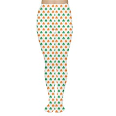 Orange And Green Heart-Shaped Shamrocks On White St. Patrick s Day Women s Tights