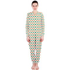 Orange And Green Heart-Shaped Shamrocks On White St. Patrick s Day OnePiece Jumpsuit (Ladies)