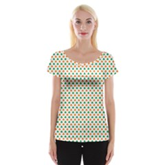 Orange And Green Heart-Shaped Shamrocks On White St. Patrick s Day Women s Cap Sleeve Top