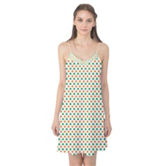 Orange And Green Heart-Shaped Shamrocks On White St. Patrick s Day Camis Nightgown