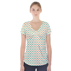 Orange And Green Heart-Shaped Shamrocks On White St. Patrick s Day Short Sleeve Front Detail Top