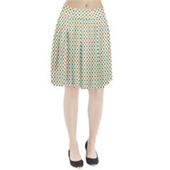 Orange And Green Heart-Shaped Shamrocks On White St. Patrick s Day Pleated Skirt