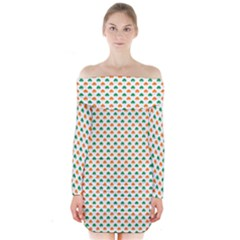 Orange And Green Heart-Shaped Shamrocks On White St. Patrick s Day Long Sleeve Off Shoulder Dress