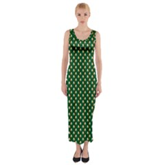 Irish Flag Green White Orange on Green St. Patrick s Day Ireland Fitted Maxi Dress