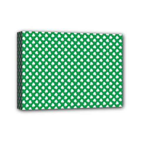 White Shamrocks On Green St. Patrick s Day Ireland Mini Canvas 7  x 5