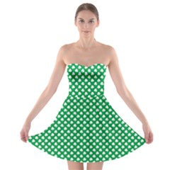 White Shamrocks On Green St. Patrick s Day Ireland Strapless Bra Top Dress