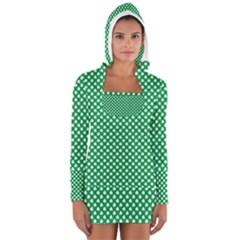 White Shamrocks On Green St. Patrick s Day Ireland Women s Long Sleeve Hooded T-shirt