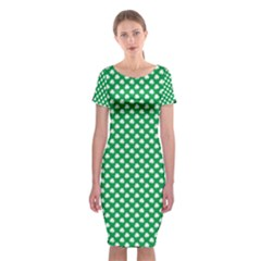 White Shamrocks On Green St. Patrick s Day Ireland Classic Short Sleeve Midi Dress