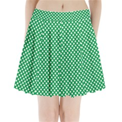 White Shamrocks On Green St. Patrick s Day Ireland Pleated Mini Skirt