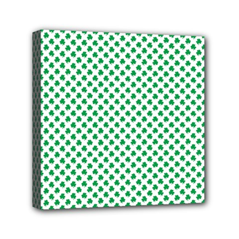 Green Shamrock Clover on White St. Patrick s Day Mini Canvas 6  x 6