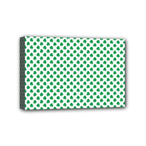 Green Shamrock Clover on White St. Patrick s Day Mini Canvas 6  x 4