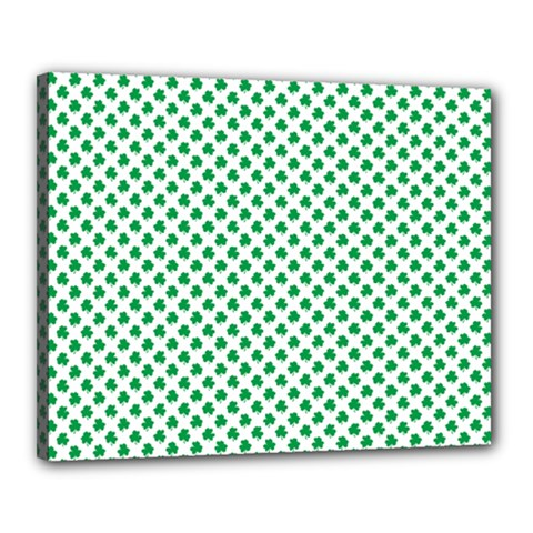 Green Shamrock Clover on White St. Patrick s Day Canvas 20  x 16