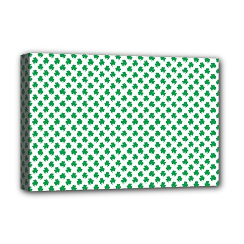 Green Shamrock Clover on White St. Patrick s Day Deluxe Canvas 18  x 12