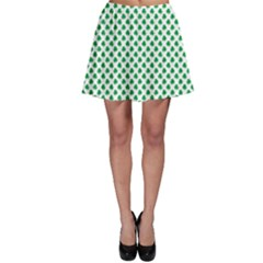 Green Shamrock Clover on White St. Patrick s Day Skater Skirt