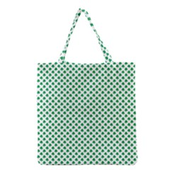 Green Shamrock Clover on White St. Patrick s Day Grocery Tote Bag