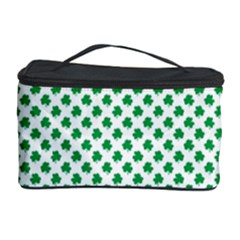 Green Shamrock Clover on White St. Patrick s Day Cosmetic Storage Case