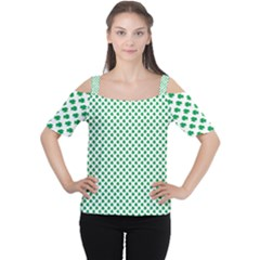 Green Shamrock Clover on White St. Patrick s Day Women s Cutout Shoulder Tee