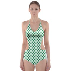 Green Shamrock Clover on White St. Patrick s Day Cut-Out One Piece Swimsuit