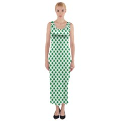 Green Shamrock Clover on White St. Patrick s Day Fitted Maxi Dress