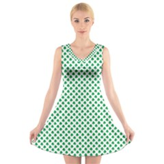 Green Shamrock Clover on White St. Patrick s Day V-Neck Sleeveless Skater Dress
