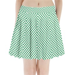 Green Shamrock Clover on White St. Patrick s Day Pleated Mini Skirt