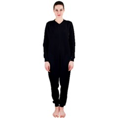 Black And Grey Perforated Pinhole Carbon Fiber Onepiece Jumpsuit (ladies)