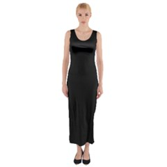 Black and Grey Perforated PInhole Carbon Fiber Fitted Maxi Dress