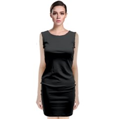 Black and Grey Perforated PInhole Carbon Fiber Classic Sleeveless Midi Dress